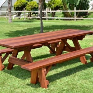 "Forever Picnic Table (Options: 8' L, 34 ½"" W, Side Benches, Old-Growth Redwood, 1 Full Length Side Benches Per Side, Standard Tabletop, Slightly Rounded Corners, No Umbrella Hole, Transparent Premium Sealant)."