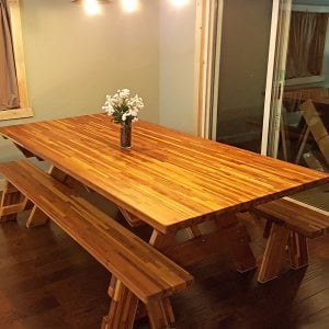 "Forever Picnic Table (Options: 8' L, 46"" W, Side Benches, Mosaic Eco-Wood [only Legs of Table in Redwood], 1 Full Length Side Benches Per Side, Seamless Tabletop, Slightly Rounded Corners, No Umbrella Hole, Transparent Premium Sealant). Photo Courtesy of E. Anderson of Bena, MN."
