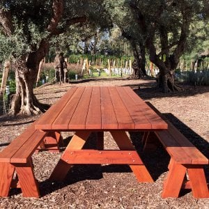 "Forever Picnic Table (Options: 10' L, 46"" W, Side Benches, Mature Redwood, 2 Half Length Benches Per Side, Standard Tabletop, Square Corners, 2"" Umbrella Hole, Transparent Premium Sealant). Photo Courtesy of H. Williams of Sonoma, CA."