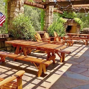 "Forever Picnic Tables (Options: 8' L, 34 1/2"" W, Side Benches, Redwood, 1 Full Length Side Bench Per Side, Standard Tabletop, Squared Corners, No Umbrella Hole, Transparent Premium Sealant). Photo Courtesy of K. Schaeffer of Calistoga, CA."