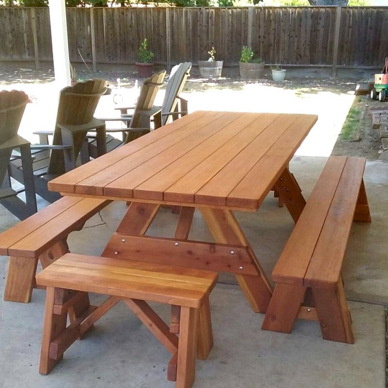 "Forever Picnic Table (Options: 8' L, 40 1/4"" W, Side & End Benches, Redwood, 1 Full Length Side Benches Per Side, Standard Tabletop, Slightly Rounded Corners, No Umbrella Hole, Transparent Premium Sealant). Photo Courtesy of M. Lahl of Concord, CA."
