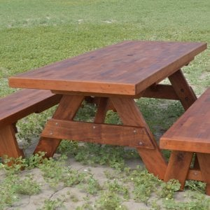 "Forever Picnic Table (Options: 8' L, 34 ½"" W, Side Benches, Old-Growth Redwood, 1 Full Length Side Benches Per Side, Parquet Tabletop, Slightly Rounded Corners, Umbrella Hole, Transparent Sealant). Benches in matching parquet."