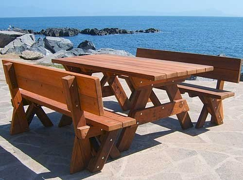 "Forever Picnic Table (Options: 6' L, 34 ½"" W, Side Fullback Benches, Old-Growth Redwood, 1 Full Length Side Benches Per Side, Standard Tabletop, Squared Corners, No Umbrella Hole, Transparent Premium Sealant)."