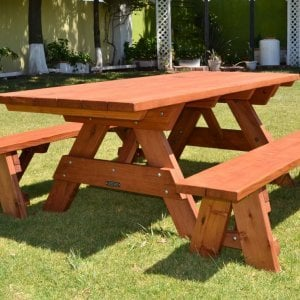 "Forever Picnic Table (Options: 7' L, 34 ½"" W, Side Benches, Mature Redwood, 1 Full Length Side Benches Per Side, Standard Tabletop, Squared Corners, No Umbrella Hole, Transparent Premium Sealant)."