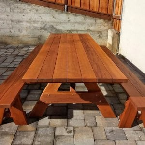 "Forever Picnic Table (Options: 10' L, 40 1/4"" W, Side Benches, Mature Redwood, 1 Full Length Bench Per Side, Standard Tabletop, Squared Corners, 1 5/8"" Umbrella Hole, Transparent Premium Sealant). Photo Courtesy of R. Miller of Millbrae, CA."