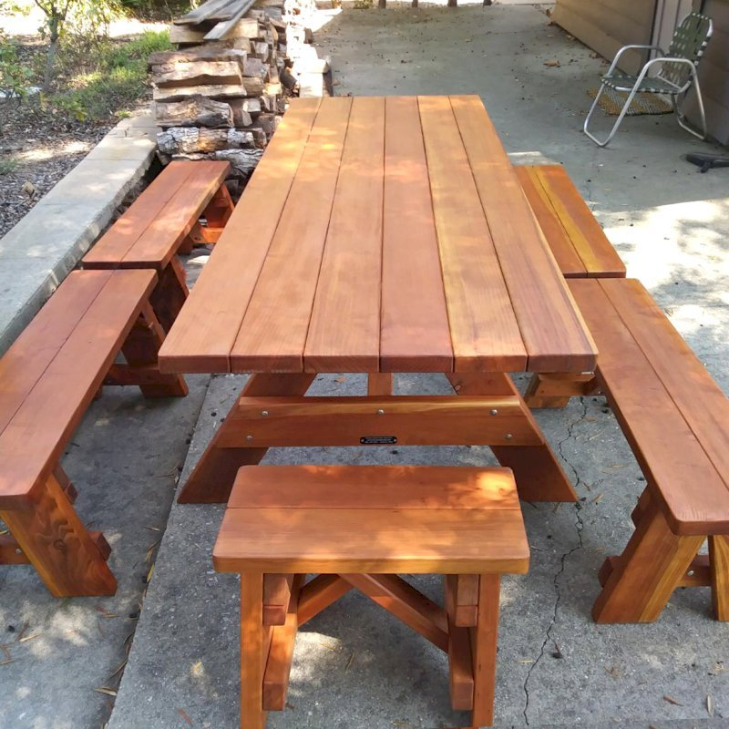 "Forever Picnic Table (Options: 8' L, 34 1/2"" W, Side & End Benches, Redwood, 2 Half Length Benches Per Side, Standard Tabletop, Slightly Rounded Corners, No Umbrella Hole, Transparent Premium Sealant). Photo Courtesy of R. Webster of Pasadena, CA."