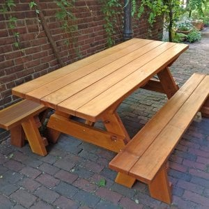 "Forever Picnic Table (Options: 6' L, 34 ½"" W, Side Benches, Redwood, 1 Full Length Side Benches Per Side, Standard Tabletop, Slightly Rounded Corners, No Umbrella Hole, Transparent Premium Sealant). Photo Courtesy of Steve Vincent."