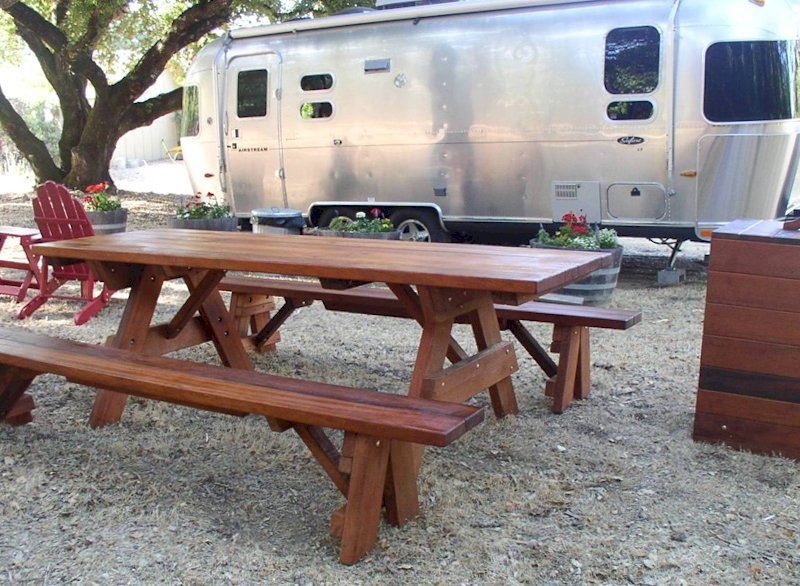 "Forever Picnic Table (Options: 8' L, 34 ½"" W, Side Benches, Old-Growth Redwood, 1 Full Length Side Benches Per Side, Standard Tabletop, Squared Corners, No Umbrella Hole, Transparent Premium Sealant)."