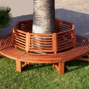 Forever Tree Bench (Options: 10 ft, Mature Redwood, No Beverage Ledge, No Cushion, No Engraving, Transparent Premium Sealant).