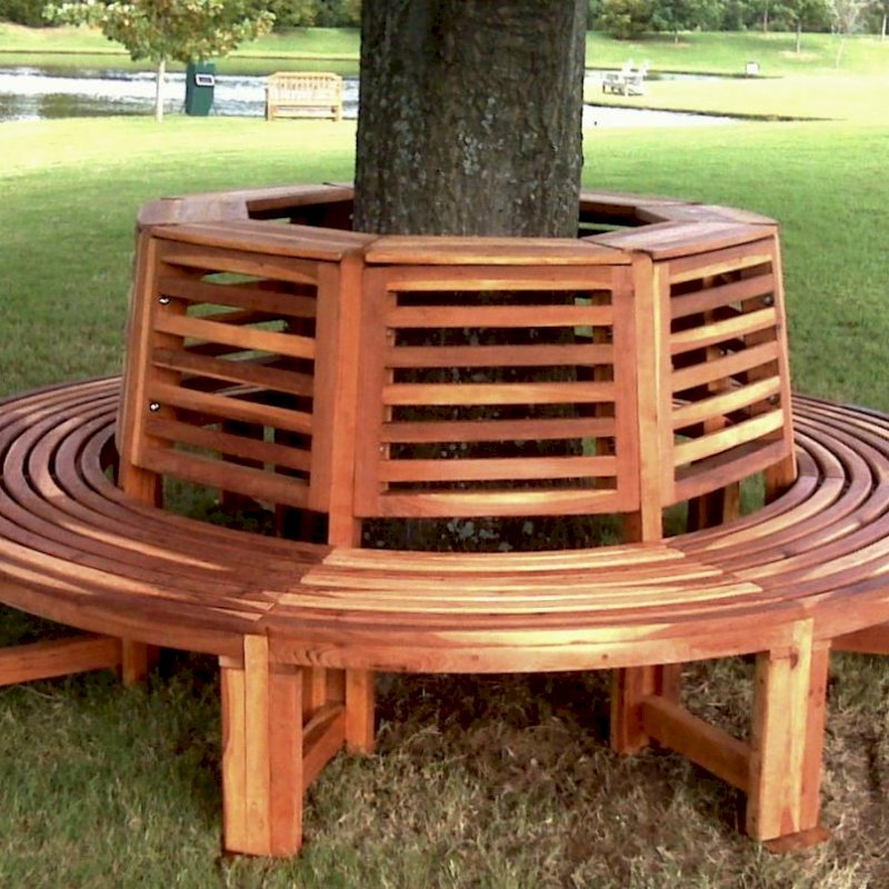 Forever Tree Bench (Options: 8 1/2 ft, California Redwood, Beverage Ledge, No Cushion, No Engraving, Transparent Premium Sealant).