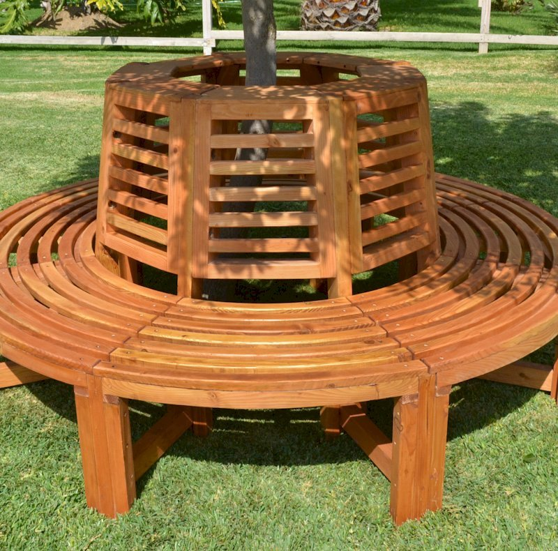 Forever Tree Bench (Options: 7 ft, California Redwood, Beverage Ledge, No Cushion, No Engraving, Transparent Premium Sealant).