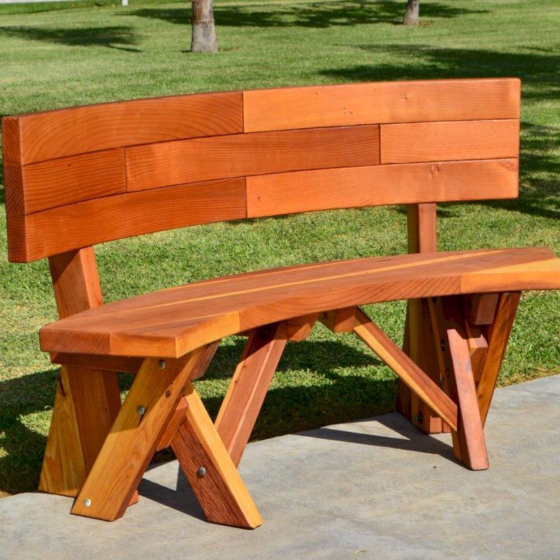 Fullback Arc Bench (Options: 49 1/2 inches, California Redwood, No Engraving, Transparent Premium Sealant).