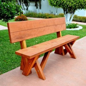 Fullback Bench (Options: 5 ft, Mature Redwood, No Cushion, No Engraving, Transparent Premium Sealant).