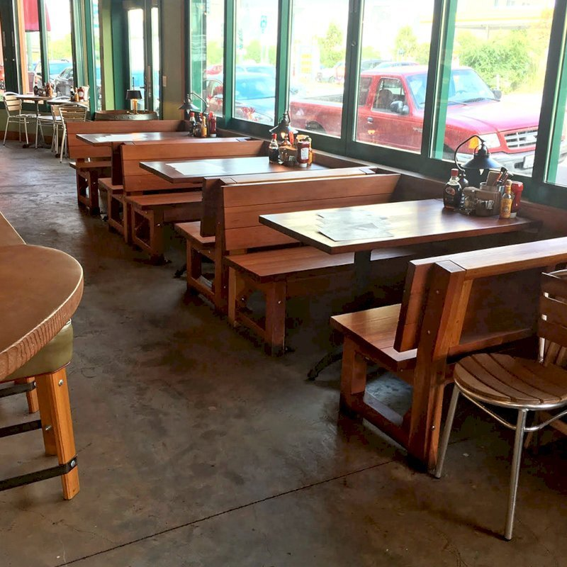 Custom Fullback Benches (Options: Old-Growth Redwood, Transparent Premium Sealant). Photo Courtesy of Chow's Restaurant in 3770 Piedmont Avenue, Oakland, CA.