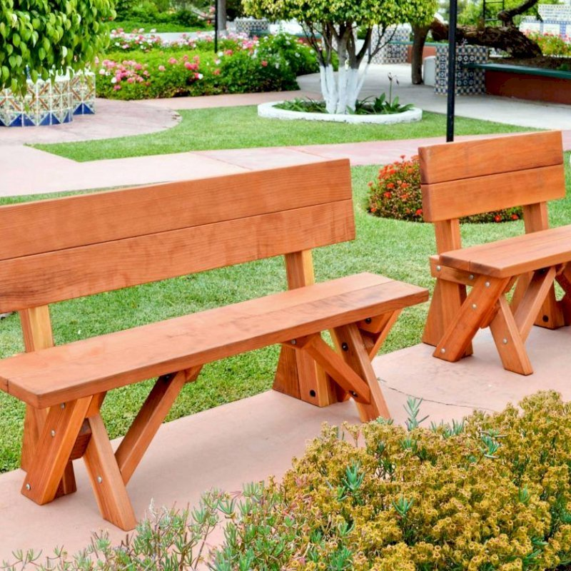 Fullback Benches (Options: 3 ft and 5 ft, Mature Redwood, No Cushion, No Engraving, Transparent Premium Sealant).