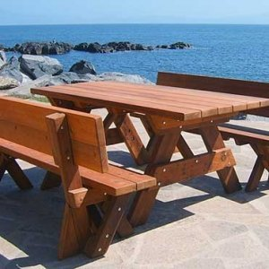 Fullback Benches (Options: 6 ft, Old-Growth Redwood, No Cushion, No Engraving, Transparent Premium Sealant) with a Rectangular Picnic Table.