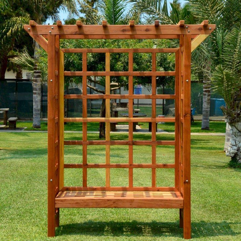"Annapolis Garden Arbor (Options: 74"" W x 32"" D, California Redwood, Add Bench, No Anchor Kit, Transparent Premium Sealant)."