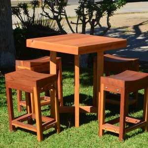 "Gladys's Balcony Table Set (Options: 30"" x 30"", 4 Side Benches, Douglas-fir, Transparent Premium Sealant)."