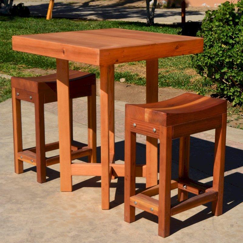 "Gladys's Balcony Table Set (Options: 30"" x 30"", 2 Side Benches, Douglas-fir, Transparent Premium Sealant)."