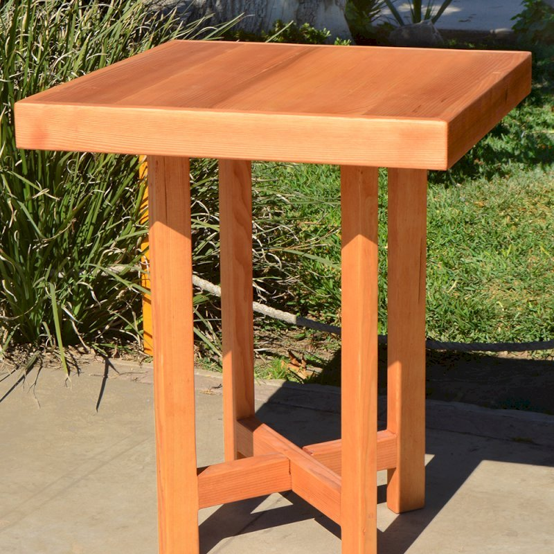 "Gladys's Balcony Table Set (Options: 30"" x 30"", No Seating, Douglas-fir, Transparent Premium Sealant)."