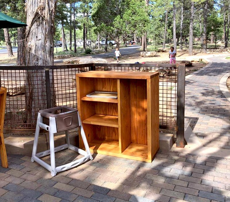 "Custom Greg's Bookcase (Options: 38"" W x 26"" D x 42"" H, with 4 Compartments, Douglas-fir, Closed Back, Transparent Premium Sealant). Photo Courtesy of R. Relihan of Grand Canyon, Arizona ."