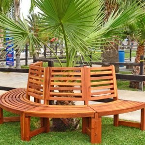 The Half Circle Tree Bench (Options: 8 1/2 ft, California Redwood, No Cushion,  Transparent Premium Sealant).