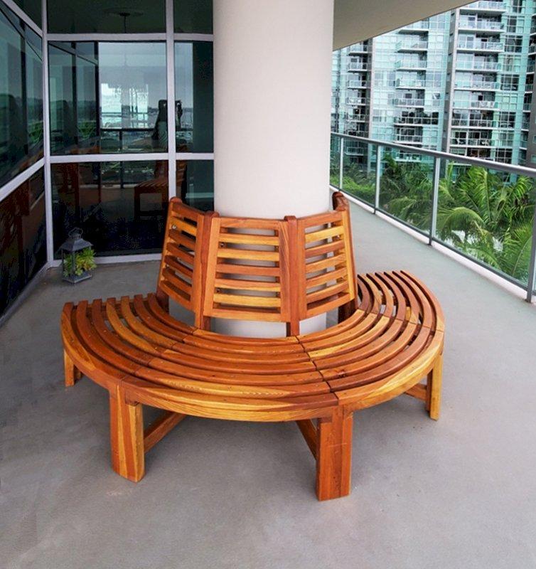 The Half Circle Tree Bench (Options: 5 ft, California Redwood, No Cushion,  Transparent Premium Sealant).