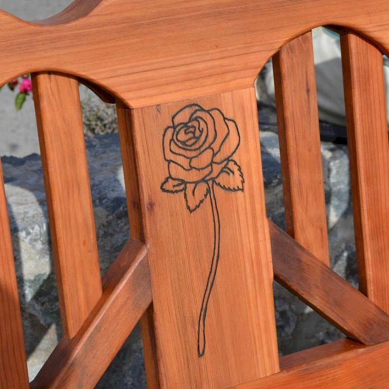 Heart Bench (Options: 4 ft, Mature Redwood, No Cushion, Custom Engraving, Transparent Premium Sealant).