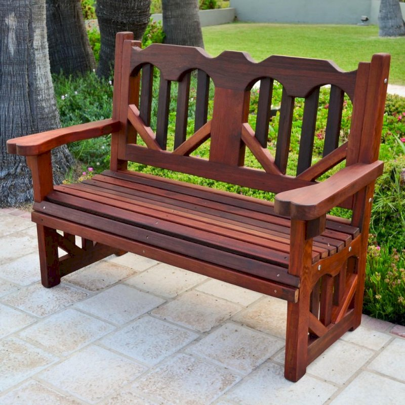 Heart Bench (Options: 4 ft, Old-Growth Redwood, No Cushion, No Engraving, Transparent Premium Sealant).