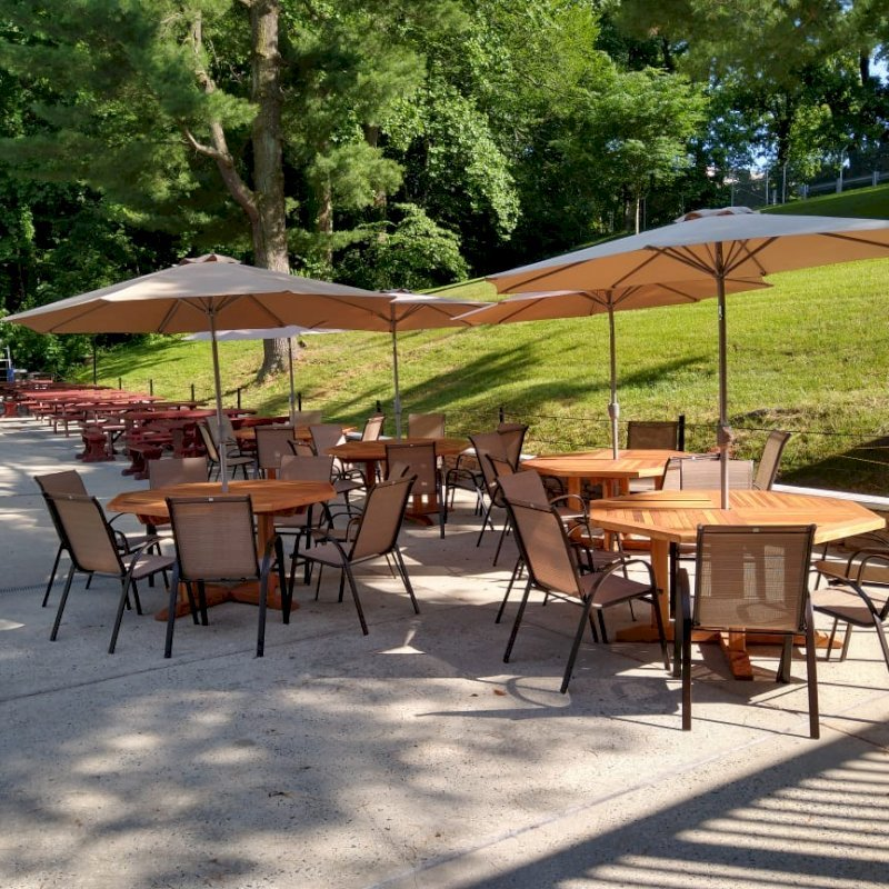 Helen's Octagonal Terrace Tables (Options: 5 ft, No Seating, California Redwood, Standard Tabletop, Rounded Corners, Umbrella Hole, Transparent Premium Sealant). Photo Courtesy of D. Flanigan of Silver Spring, Maryland.