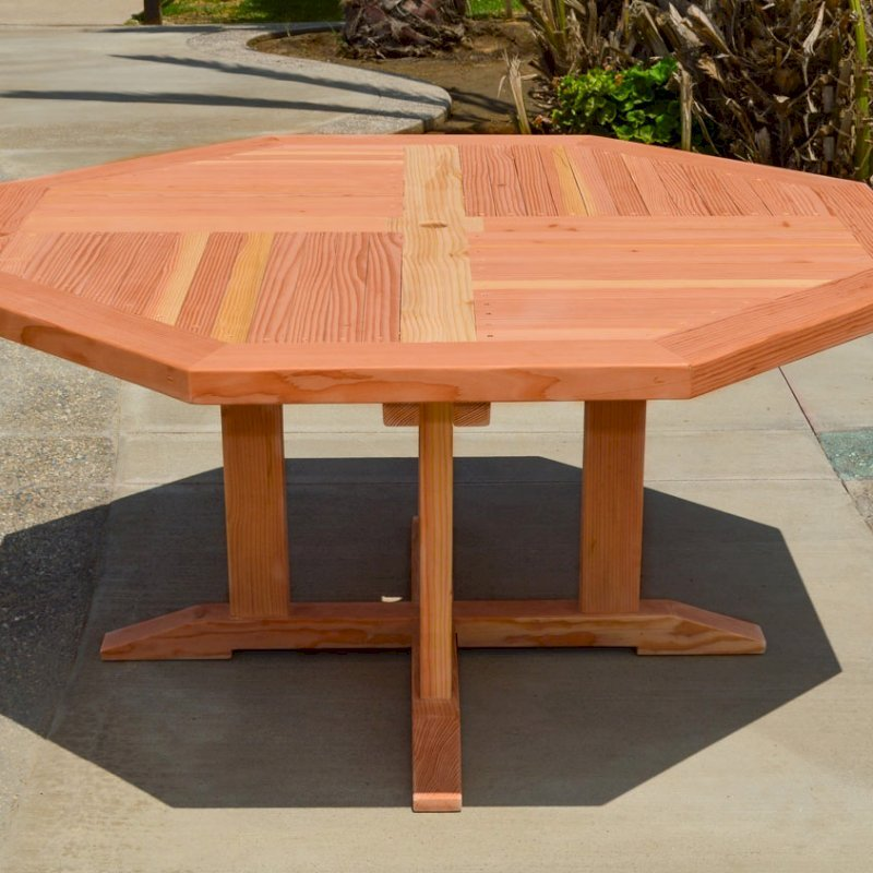 Helen's Octagonal Terrace Table (Options: 4 1/2 ft, No Seating, Douglas-fir, Standard Tabletop, Rounded Corners, Umbrella Hole, Transparent Premium Sealant).