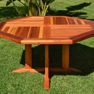"Helen's Octagonal Terrace Table (Options: 5 ft, No Seating, California Redwood, Standard Tabletop, Rounded Corners, 2"" Umbrella Hole, Transparent Premium Sealant)."
