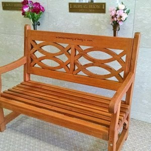 Hennell Bench (Options: 4 ft, Old-Growth Redwood, No Cushion, Custom Engraving, Transparent Premium Sealant). Photo Courtesy of David Irion of Great Falls, MT.