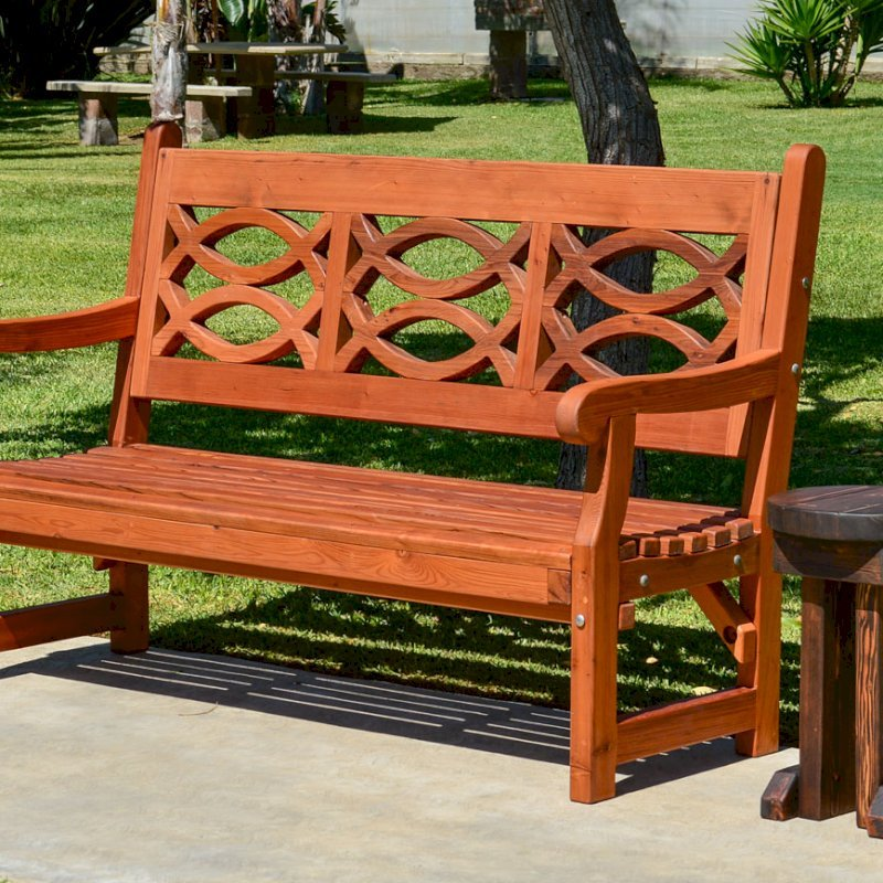 Hennell Bench (Options: 5 ft, Old-Growth Redwood, No Cushion, No Engraving, Transparent Premium Sealant) and Mini Round Side Table.