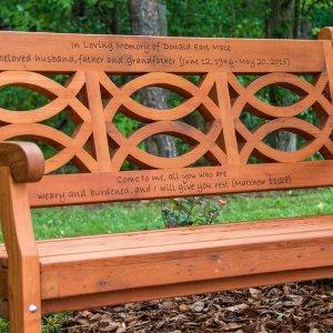 Hennell Bench (Options: 5 ft, Old-Growth, No Cushion, Custom Engraving, Transparent Premium Sealant). Photo Courtesy of  Charles Greene of Ellenboro, North Carolina.