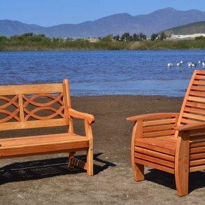 Hennell Bench (Options: 4 ft, Douglas-fir, No Cushion, No Engraving, Transparent Premium Sealant). Photo also shows a Marazul Chair in Douglas-fir.