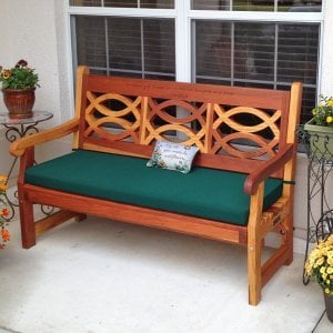 Hennell Bench (Options: 5 ft, Redwood, Forest Green Cushion, Custom Engraving, Transparent Premium Sealant). Photo Courtesy of Elizabeth Davies of The Villages, Florida.