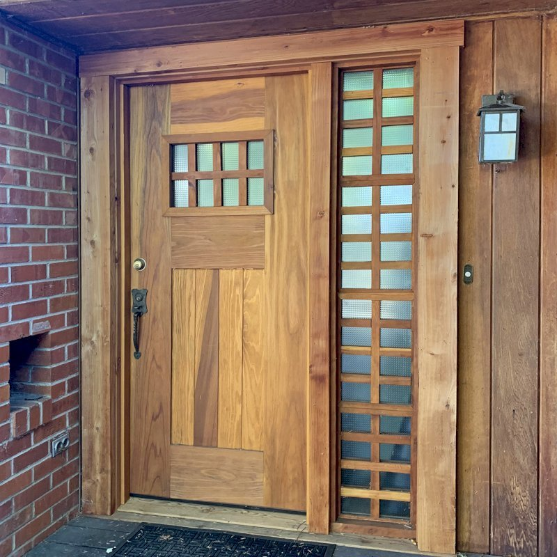 """Heritage Door (Options: 6'-8"""" H, 36"""" W, Customer Added Glass Localy, Transparent Premium Sealant, with Sidelight by Custom Request). Photo Courtesy of S. Jacobszoon of Ukiah, California."""