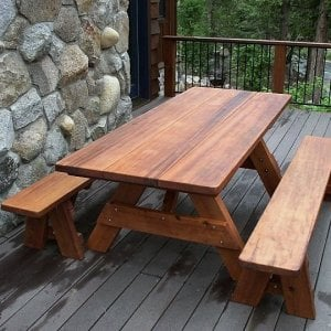 "Heritage Picnic Table (Options: 7' L, 34 1/2"" W, Side Benches, Unattached Benches, 1 Full Length Side Bench/Side, Forever Style Benches, Standard Tabletop, Rounded Corners, Standard Leg Flair, No Umbrella Hole, Transparent Premium Sealant)."