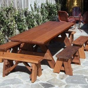"Heritage Picnic Table (Options: 8' L, 34 1/2"" W, Side and End Benches, Unattached Benches, 2 Half Length Side Benches/Side, Forever Style Benches, Standard Tabletop, Squared Corners, Standard Leg Flair, Umbrella Hole, Transparent Premium Sealant)."