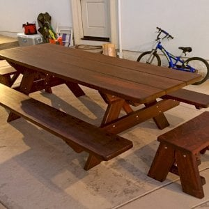 "Heritage Picnic Table (Options: 8' L, 34 1/2"" W, Side & End Benches, Attached Benches, Standard Tabletop, Rounded Corners, Standard Leg Flair, No Umbrella Hole, Coffee-Stain Premium Sealant)."