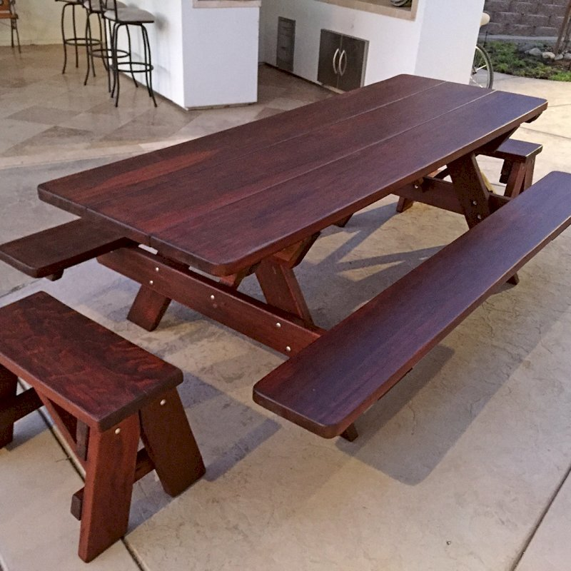 """Heritage Picnic Table (Options: 8' L, 34 1/2"""" W, Side & End Benches, Attached Benches, Standard Tabletop, Rounded Corners, Standard Leg Flair, No Umbrella Hole, Coffee-Stain Premium Sealant)."""