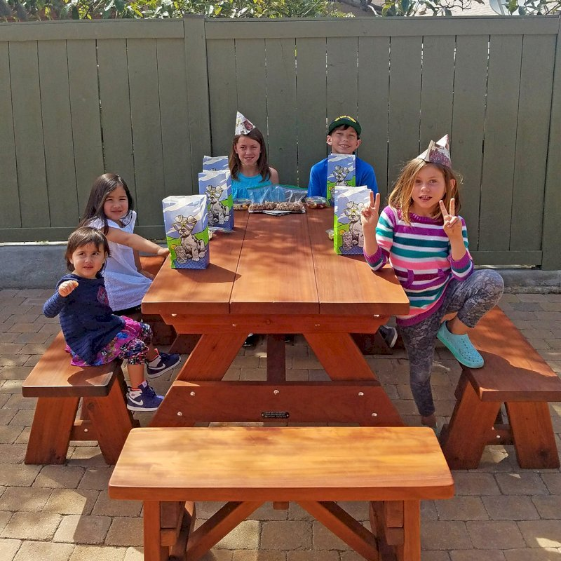 """Heritage Picnic Table (Options: 5' L, 34 1/2"""" W, Side Benches, Unattached Benches, 1 Full Length Side Bench/Side, Forever Style Benches, Standard Tabletop, Slightly Rounded Corners, Standard Leg Flair, No Umbrella Hole, Transparent Premium Sealant). Photo Courtesy of karen phillips of San Diego, California."""