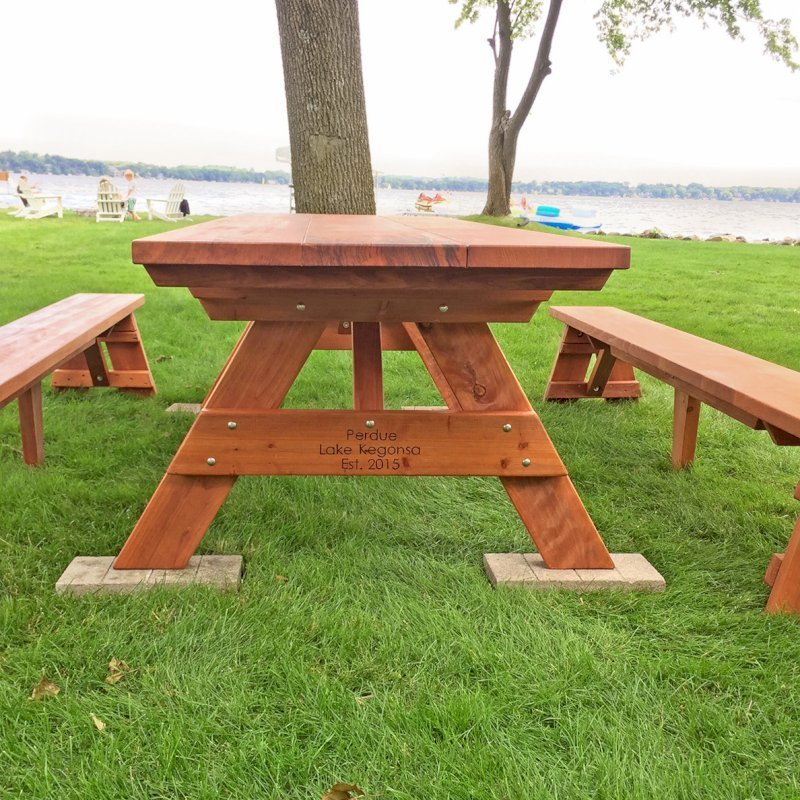 """Heritage Picnic Table (Options: 10' L, 34 1/2"""" W, Side Benches, Unattached Benches, 1 Full Length Side Bench/Side, Standard Tabletop, Squared Corners, No Umbrella Hole, Transparent Premium Sealant). Engraving by Custom Request. Photo Courtesy of A. Perdue of Stoughton, WI."""