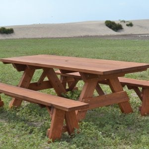 "Heritage Picnic Table (Options: 8' L, 34 1/2"" W, Side Benches, Unattached Benches, 1 Full Length Side Bench/Side, Forever Style Benches, Standard Tabletop, Slightly Rounded Corners, Standard Leg Flair, No Umbrella Hole, Transparent Premium Sealant)."
