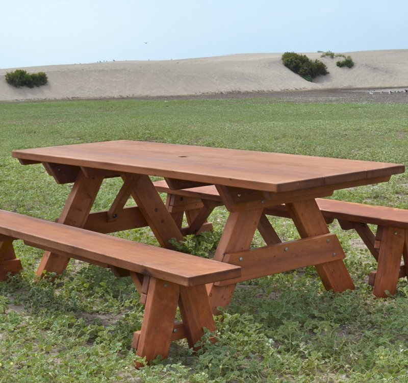 """Heritage Picnic Table (Options: 8' L, 34 1/2"""" W, Side Benches, Unattached Benches, 1 Full Length Side Bench/Side, Forever Style Benches, Standard Tabletop, Slightly Rounded Corners, Standard Leg Flair, No Umbrella Hole, Transparent Premium Sealant)."""