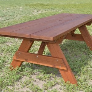 "Heritage Picnic Table (Options: 8' L, 34 1/2"" W, No Seating, Standard Tabletop, Slightly Rounded Corners, Standard Leg Flair, No Umbrella Hole, Transparent Premium Sealant)."