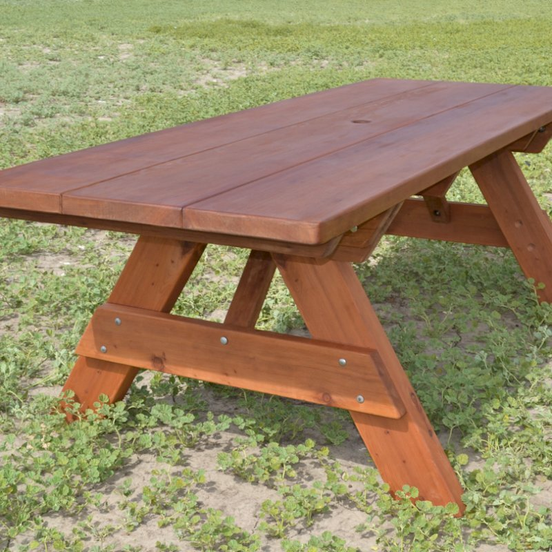 """Heritage Picnic Table (Options: 8' L, 34 1/2"""" W, No Seating, Standard Tabletop, Slightly Rounded Corners, Standard Leg Flair, No Umbrella Hole, Transparent Premium Sealant)."""