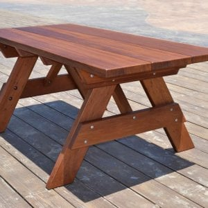 "Heritage Picnic Table (Options: 6 ft, 34 1/2"" W, No Seating, Standard Tabletop, Slightly Rounded Corners, Standard Leg Flair, No Umbrella Hole, Transparent Premium Sealant)."