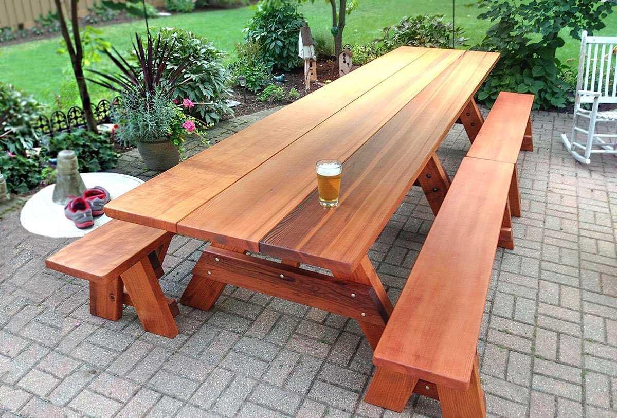 Large Wooden Picnic Table Custom Wood Picnic Table Kit - How to stain a picnic table